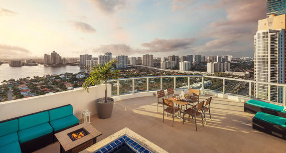 penthouse terrace overlooking sunny isles