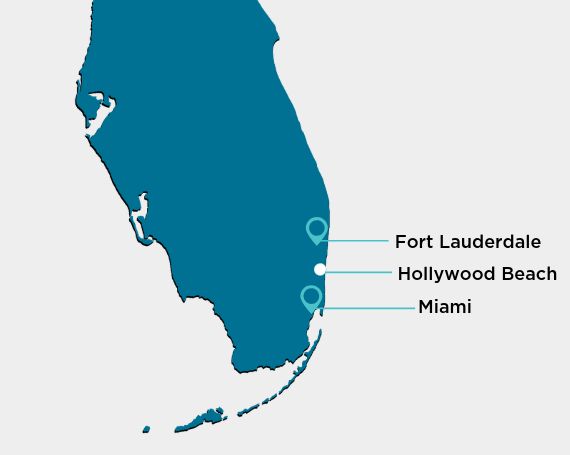 map of florida showing miami, fort lauderdale, and hollywood beach