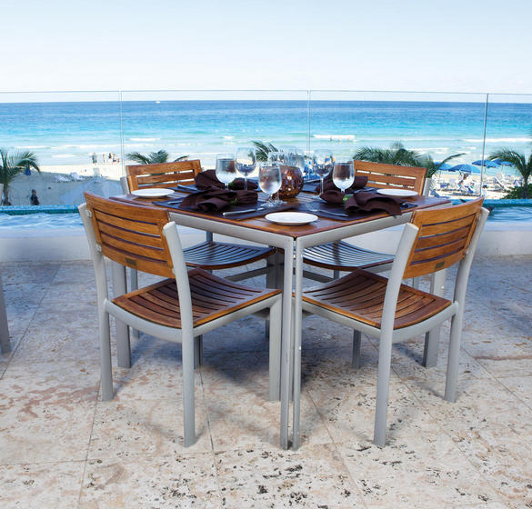Dining table for four overlooking the ocean